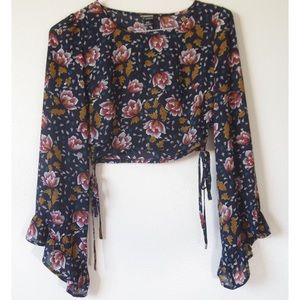 HOMMAGE FLORAL SHEER BELL SLEEVE LACE UP BLOUSE